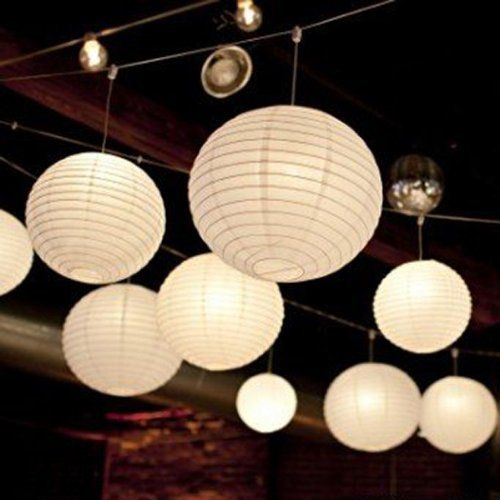 Stunning TSSS Wei Rund Papier Laternen Kugel Form Lampenschirm F r Hochzeit Kirche Garten
