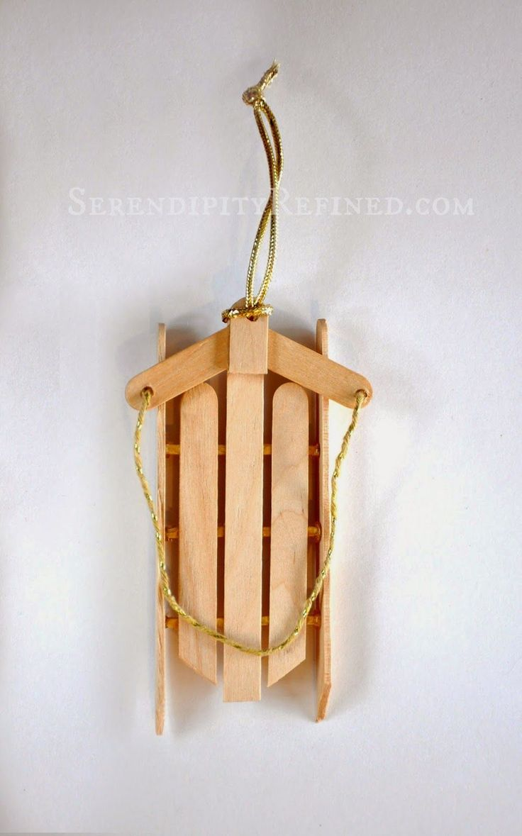 Plaid monograms natural wood ornaments feathers and i couldn t - Serendipity Refined Simple Popsicle Stick Sled Ornament Day 8