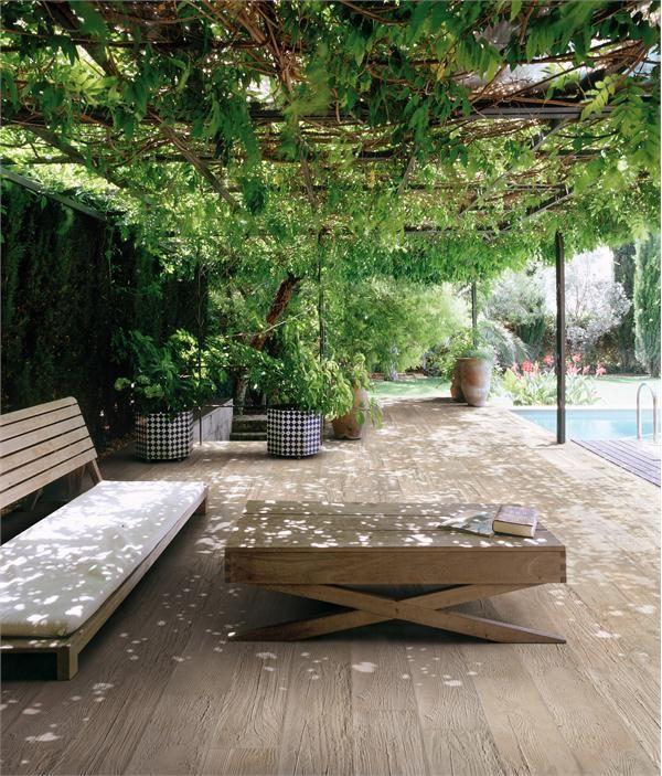 garden shade, tiled floor, table