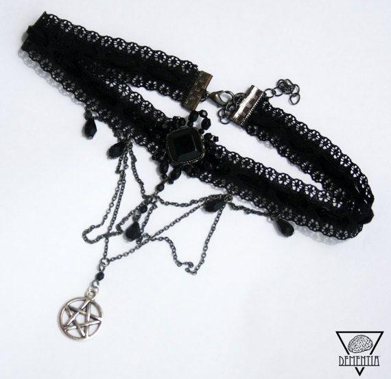 Witch Pentagram Black Chocker - Halloween Wicca Pagan Gothic Romantic Victorian Witchcraft Jewelry Magic Black Dark Goth