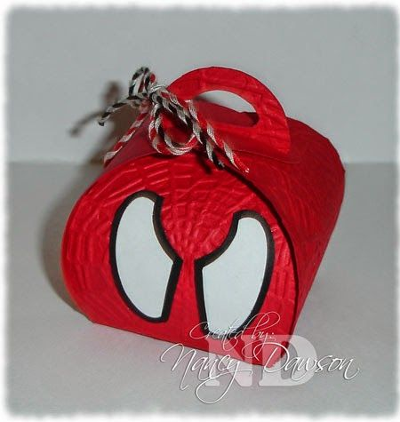 "Spiderman made with Curvy Keepsake Box die - Finished box size: 2-1/2"" x 2-3/4"" x 2-1/2""."
