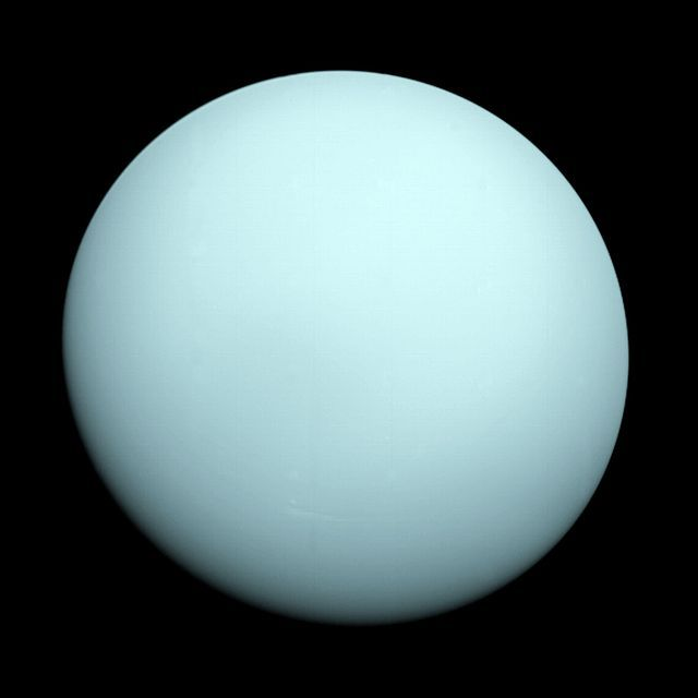 Uranus as seen through the automated eyes of Voyager 2 in 1986. (Credit: NASA/JPL).