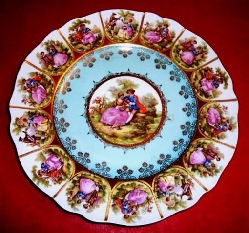 Jkw West Germany Bavaria Signed Fragonard Love Story Carlsbad Plate