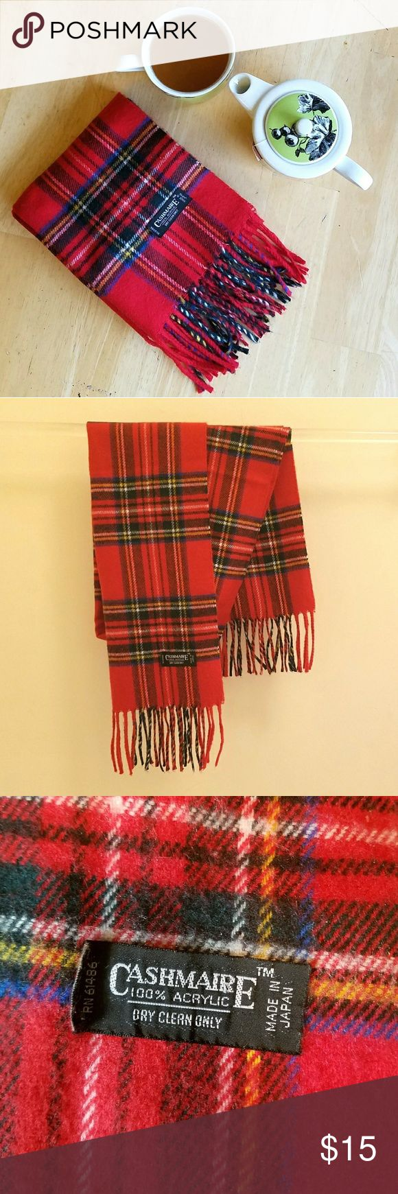 "Red Plaid Scarf A red plaid scarf made 100% acrylic chasmere very soft and cozy. Measurements are 47"" long (minus the tassles) and 11"" wide. In excellent condition Accessories Scarves & Wraps"