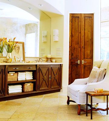 Simply Wonderful: Woven Baskets, Double Sinks Vanities, Dreams Home, Decor Ideas, Decorating Ideas, Bedrooms Doors, Bathroom Cabinets, Country French Decorating, Wood Doors