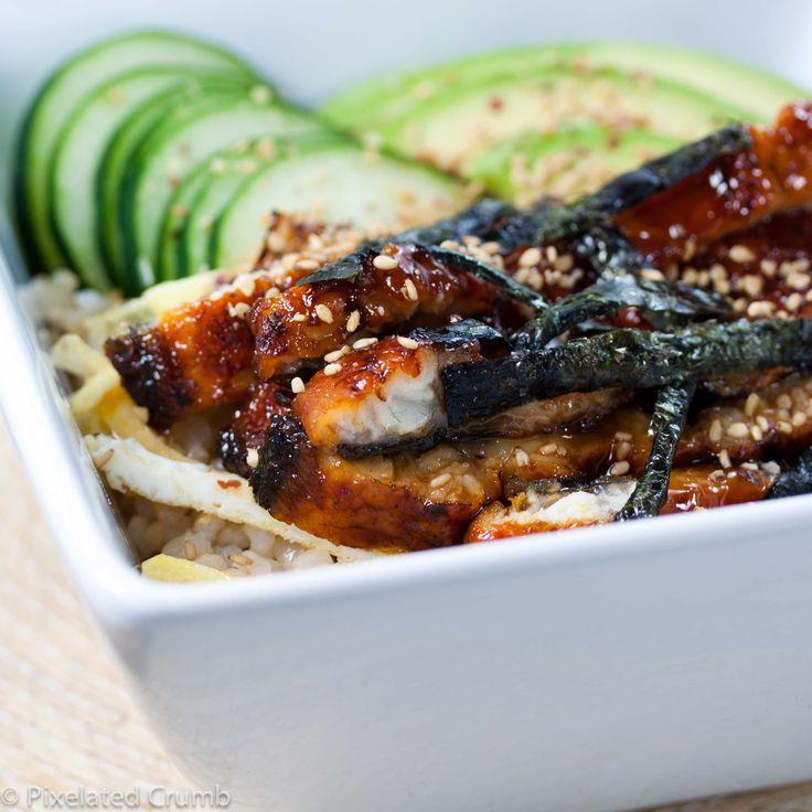 Unagi-don (Eel Sushi Rice Bowl with Avocado and Cucumber) via PixelatedCrumb.com