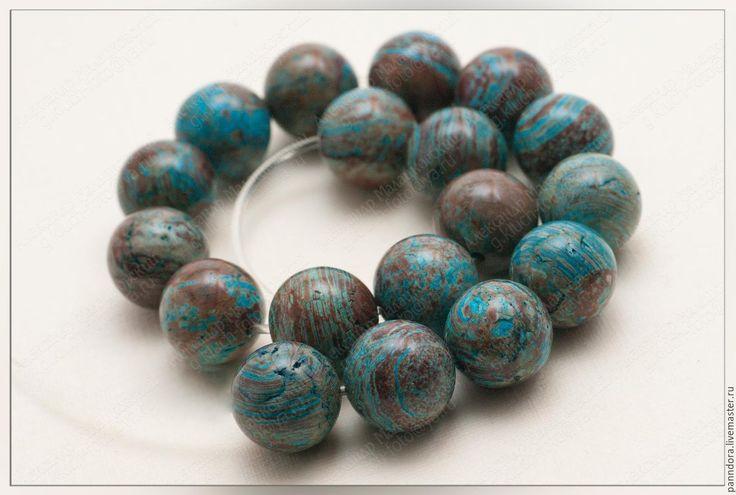 Купить Варисцит - тёмно-синий, сине-коричневый, варисцит, бусины, шар, шарик, для творчества, для украшений