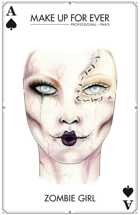 4 delightfully wicked Halloween make up tutorials - Shown is a Zombie inspired makeup tutorial #makeupchart...x