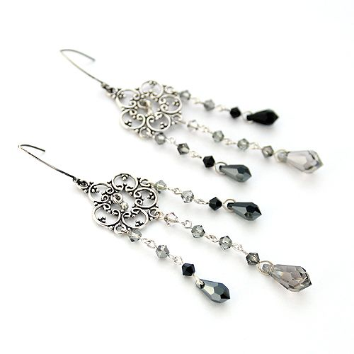 Swarovski Teardrops, silver. Long, orient-inspired earrings.