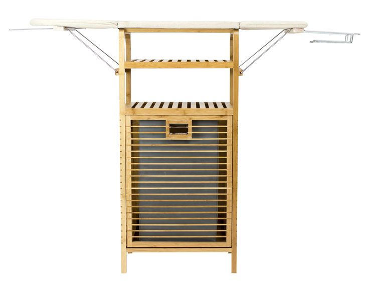 """Bamboo Ironing Board with Laundry Hamper (37"""" standard height). Replace your cumbersome traditional ironing board with one that folds down when not in use. Made from beautiful, renewable bamboo. Built in fold out laundry hamper closes with magnets to hide away from sight when not in use. Stylish enough to leave out in any room yet small enough to tuck away into a closet. Included shelf makes it easy to organize laundry and accessories. Includes metal clothes hanger and iron rest. Attractive…"""