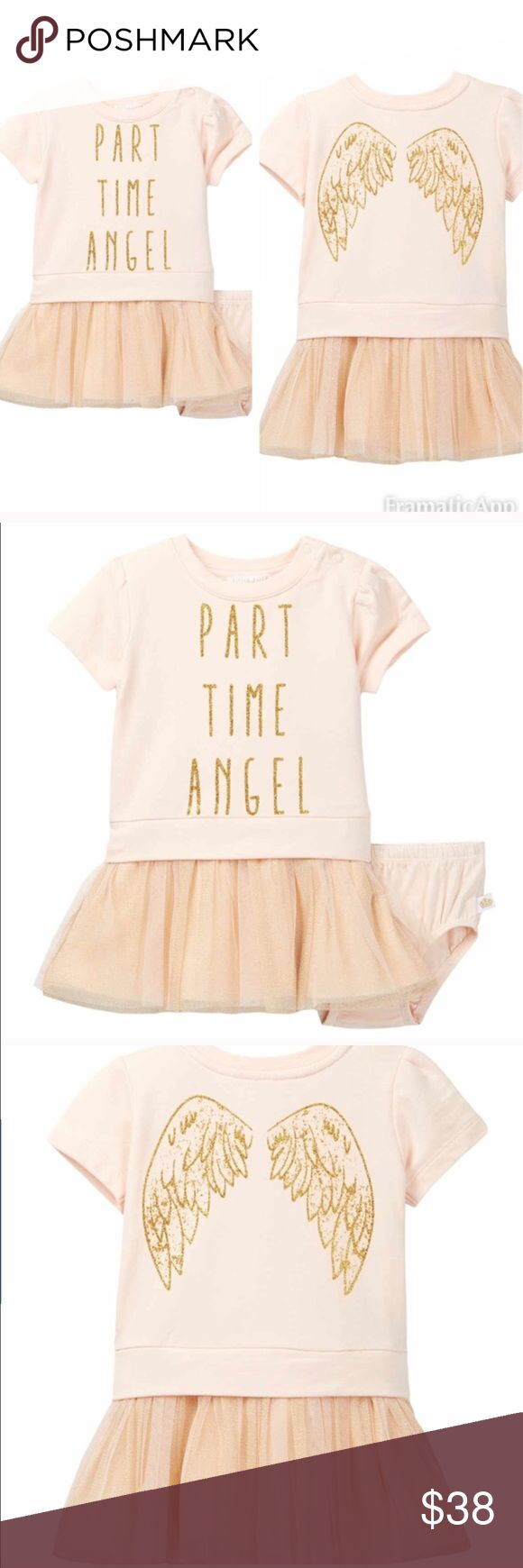 """Rosie Pope tutu Dress This is an adorable NWT glittery tutu dress & bloomer set. It's a very pretty light peach/champagne color. Top is a crew neck with shoulder snap closure, front & back glitter graphics and glitter ruffle mesh overlay at hem. Lining is solid. Materials are 95% cotton & 5%spandex. Perfect for your little angel👼🏻. ⚜Please see my """"reasonable offers"""" listing at the top of my page before submitting an offer⚜Thank you😊 Rosie Pope Dresses Casual"""