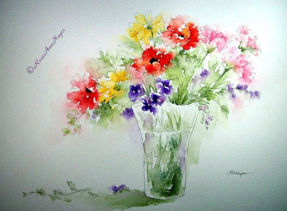 Mixed Bouquet Floral Print of Watercolor Painting, by RoseAnn Hayes, available in Etsy shop