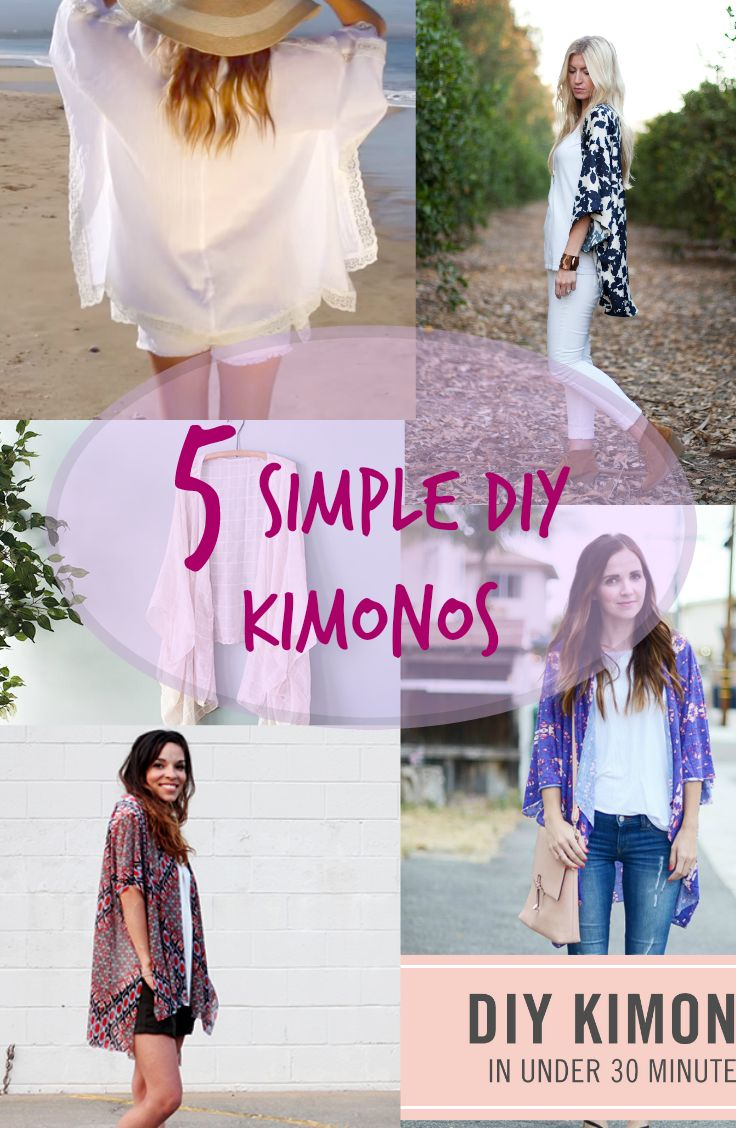 Ladies! It's time for fashion DIY!  Make your own kimono! Kimonos are perfect cover ups for summer because they are made out of light and breezy fabrics! See tutorials now -----> http://www.discountqueens.com/5-simple-diy-kimonos-2/