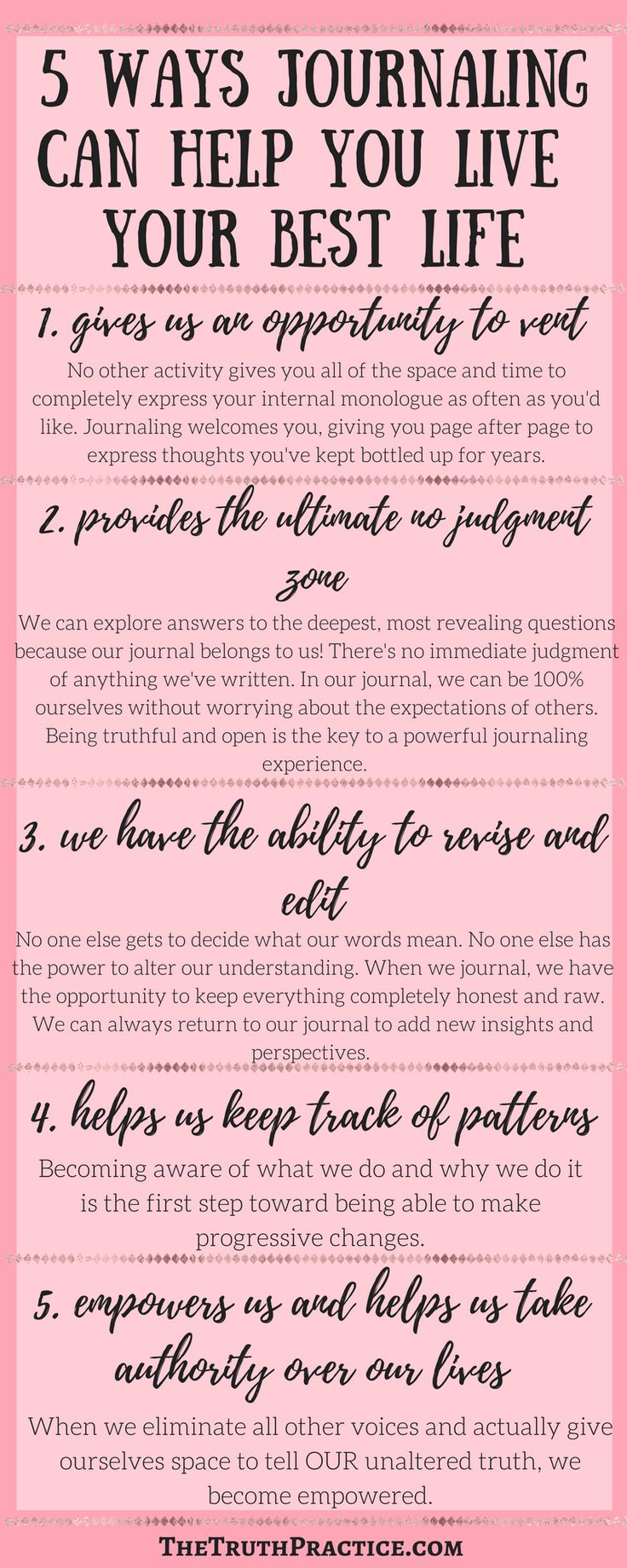 CLICK THE PIN for all 9 reasons to journal! Here are some great reasons why starting a journaling practice now will help you live a happy life! Go to TheTruthPractice.com to read about inspiration, authenticity, how to be happy, manifestation, how to follow your dreams, intuition, self-love, self-care, words of wisdom, relationships, affirmations, & meditation.
