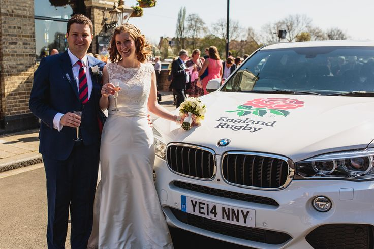 What better car to drive you to and from your wedding than a sponsored England Rugby car! #unique #weddings #Englandrugby #venue #London