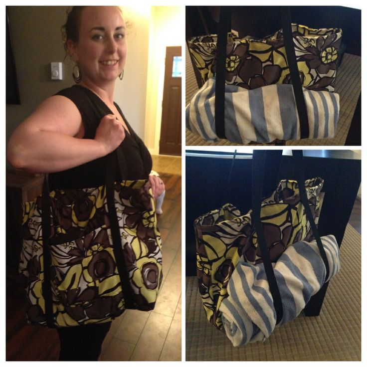 This is a new beach bag idea ! I made this myself and added the space for a rolled up towel, perfect for summer!