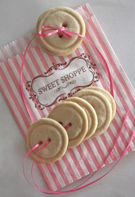 "Rooted In Thyme: ~Sugar-Button Cookie.  No recipe, just a darling idea.  I think these would be perfect for Mother's Day.  ""Cute as a button!"""