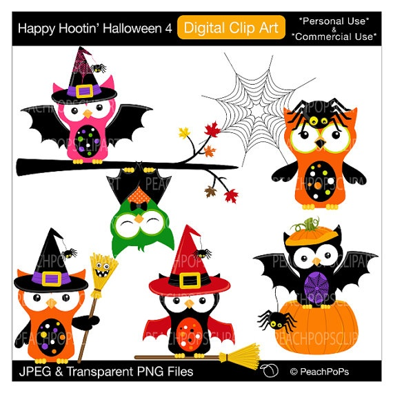 Cute Owls Clipart Digital Clip Art Bats Spider Witch   Happy Hootin  Halloween 4   Digital Clip Art   Personal Commercial Use