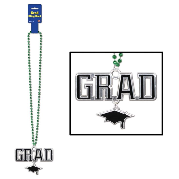 "Pack of 12 Metallic Green Beaded Necklace with grad"" and Cap Medallion 36"""