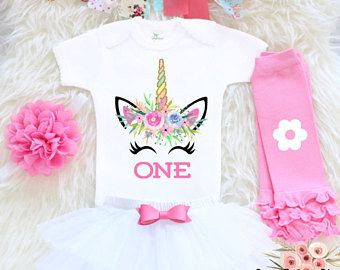 Unicorn First Birthday Outfit, First Birthday Outfit Girl, 1st Birthday Girl Outfit, Unicorn Themed Birthday, Unicorn Birthday Shirt FB17PP