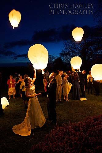 Floating Wishing Lanterns-i want to have guests attach a prayer for the couple and let them go for the send off