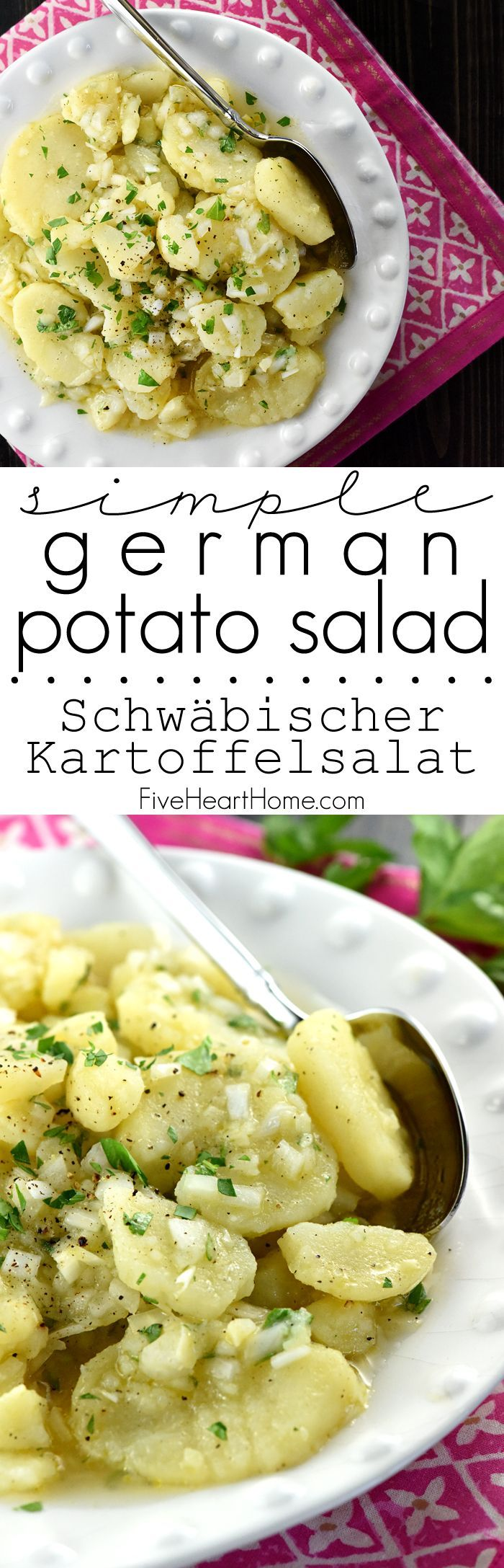 Simple German Potato Salad {Schwäbischer Kartoffelsalat} ~ hailing from the Swabian region of Germany, this delicious, authentic recipe features sliced potatoes, minced onions, hot broth, oil, vinegar, and fresh parsley!   FiveHeartHome.com