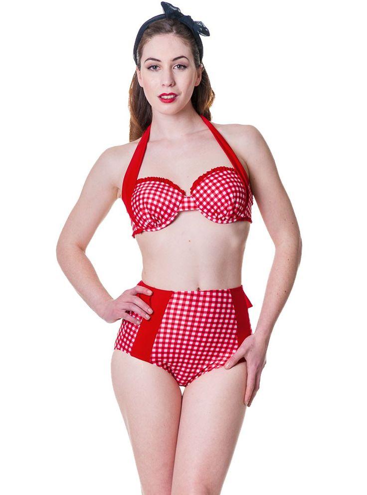 "Maillot de bain 2 pièces Bikini Rockabilly Pin-Up Retro Vintage Banned ""Grey Gingham"" - rockangehell.com"