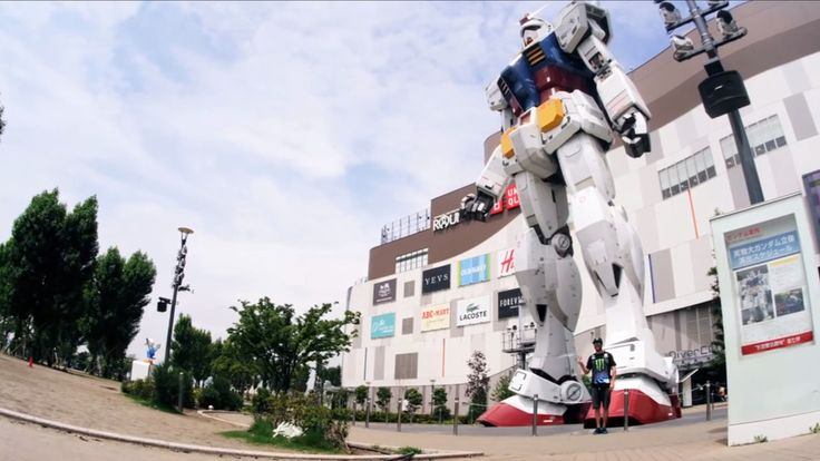 The giant Gundam statue in Japan, with Ken Block there to show its scale. He's so helpful. RelatedKe