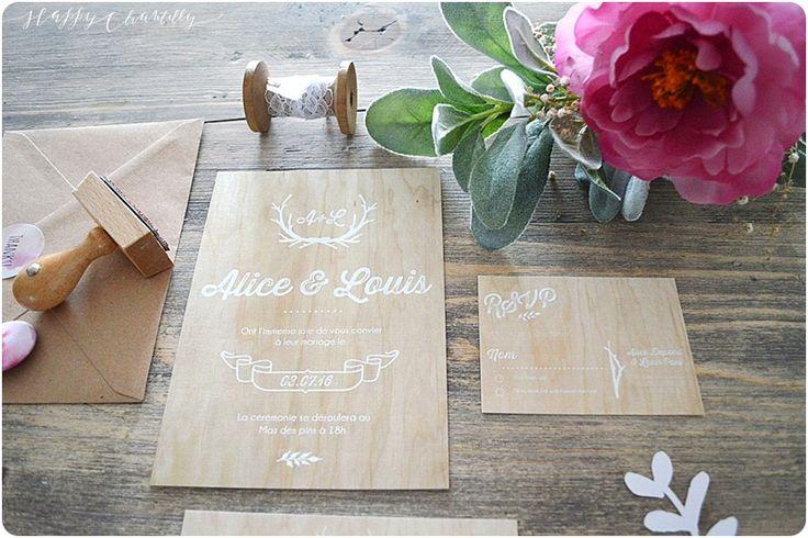 Faire-part mariage Bois champêtre – Happy Chantilly Studio