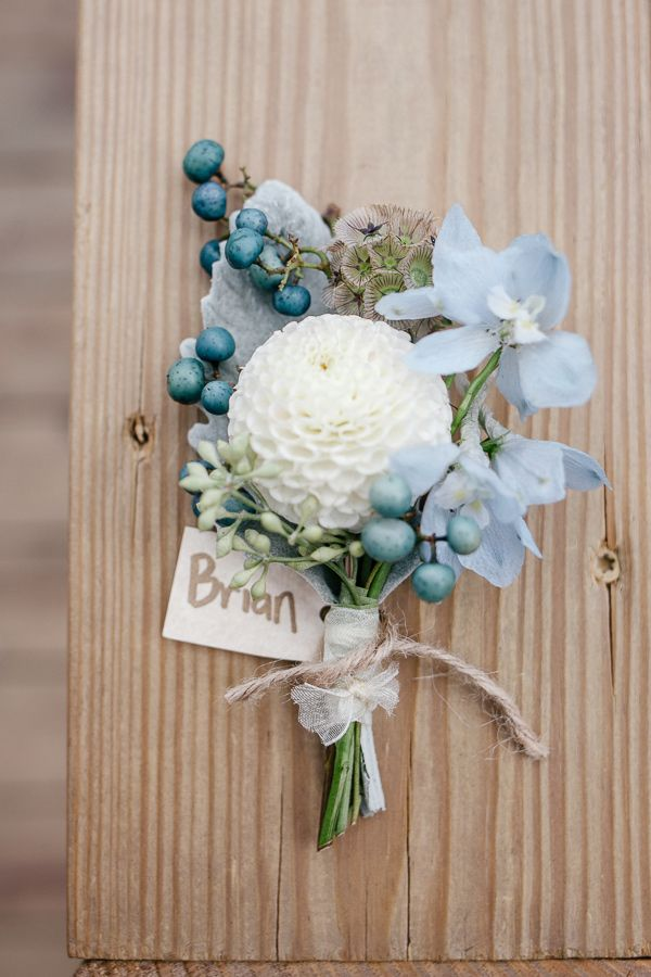 boutonniere (Flowers: Leaves of Grass Floral Design) - Front & Palmer Philadelphia Wedding captured by Emily Wren - via ruffled