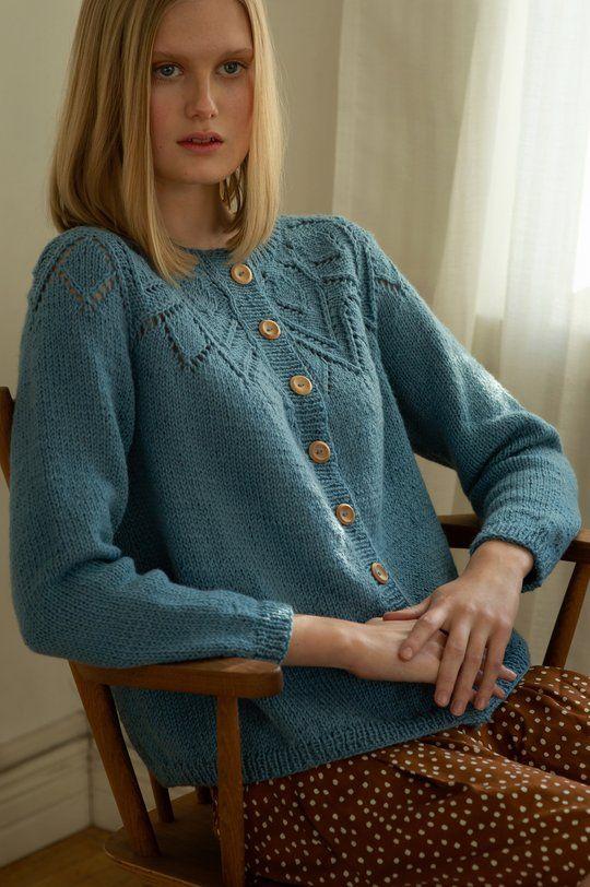 Free Knitting Pattern for a Women's Lace Yoke Cardigan ...