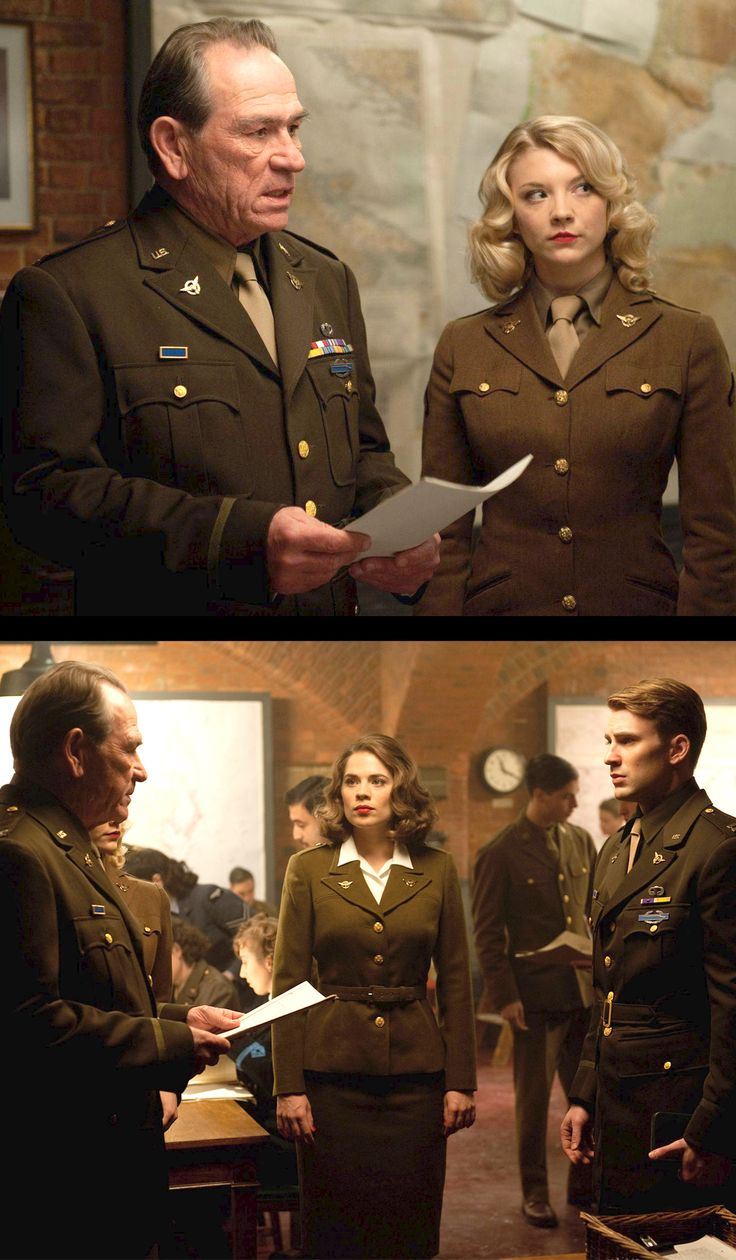 Tommy Lee Jones, Hayley Atwell and Chris Evans in 'Captain America: The First Avenger' (2011)