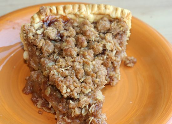 Yummy apple pie, with a cinnamon crumble top. Getting ready for apple season!
