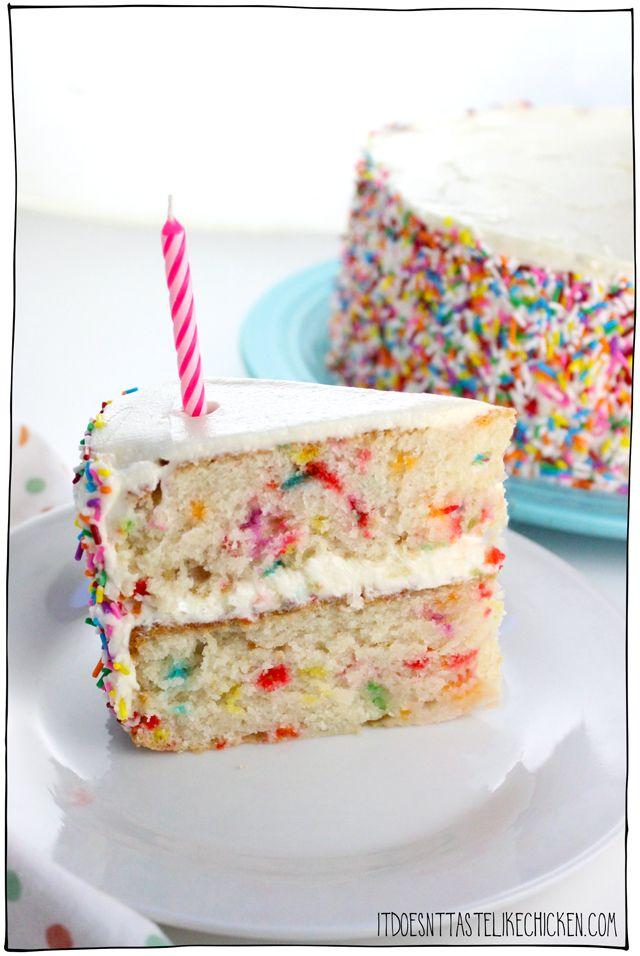 Pleasing Vegan Confetti Cake Recipe Vegan Birthday Cake Vegan Dessert Funny Birthday Cards Online Alyptdamsfinfo