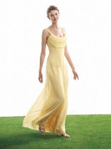 Square Neck Tiered Chiffon Floor Length Yellow Elegant Sweet Sixteen Dresses