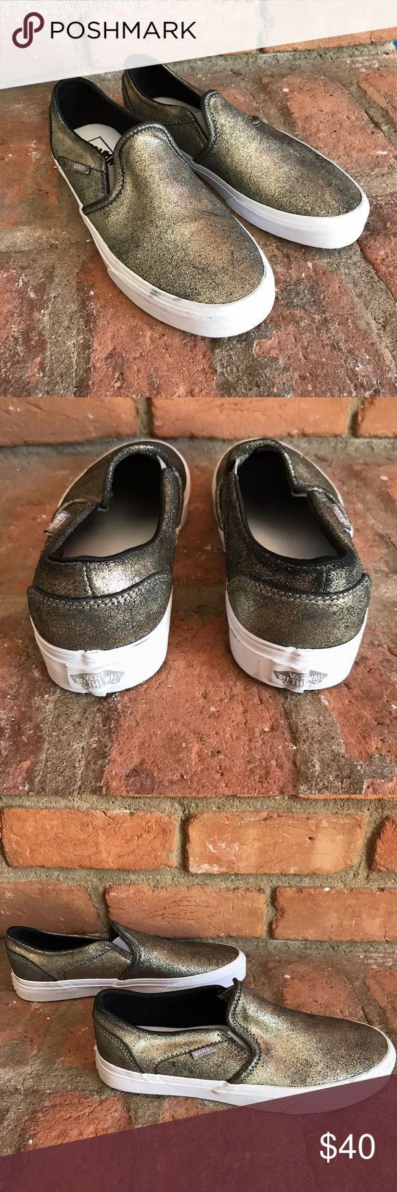 Vans classic slip on sneakers ❗️ In excellent condition super clean inside and out goldfish metallic color Vans Shoes Sneakers