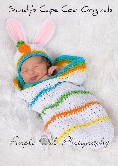 Easter Cocoon and Bunny Beanie Set Crochet Pattern PDF