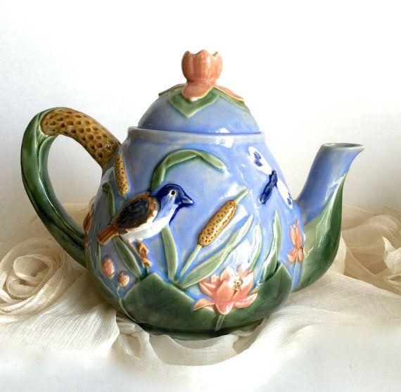 Vintage theepotten keramische thema aan de door CoCoBlueTreasures