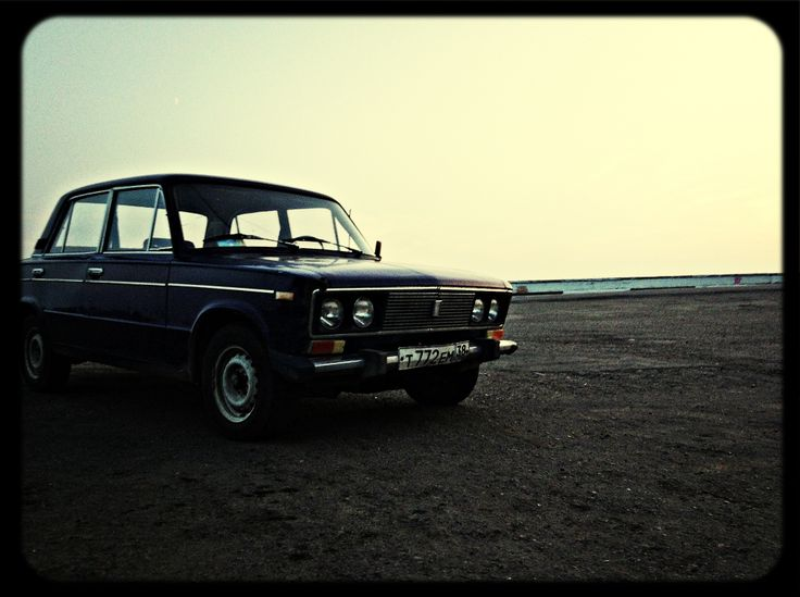 Russian car by the shore of Lake Baikal, Listvyanka in August 2013