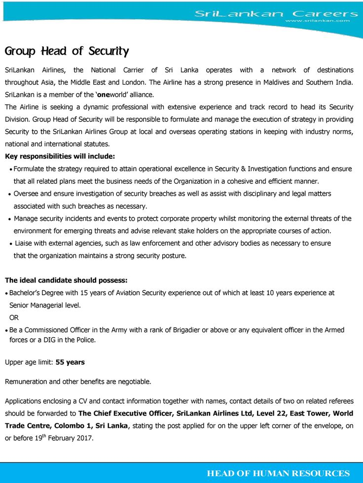 Group Head of Security at Srilankan Airlines Ltd | Career First