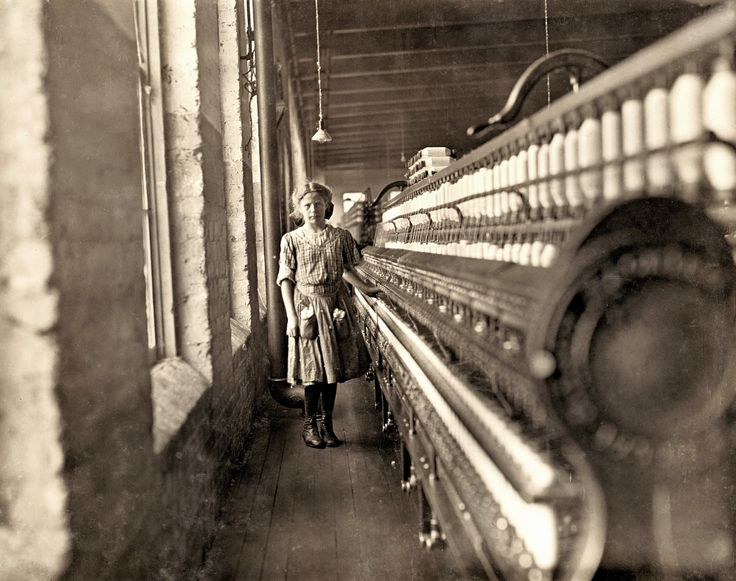 Lewis Hine - Mill Workers Hine took hundreds of pictures of children working in textile mills. Here's the first group of these, all taken of children actually at work in the mills.