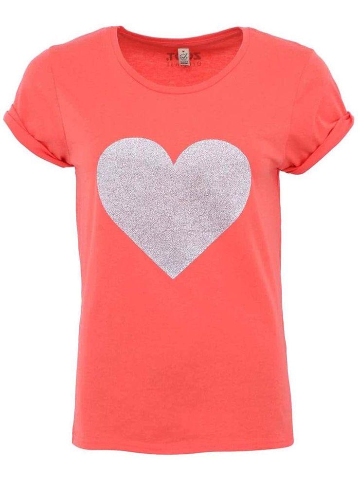 Koralové dámske tričko ZOOT Originál Strieborné srdce