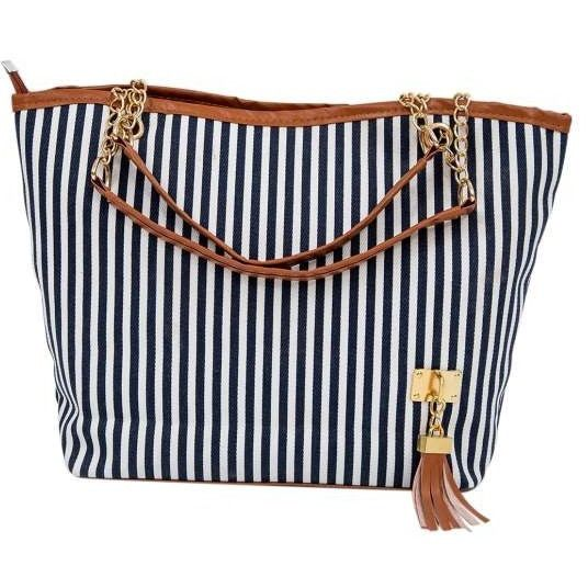 Over-sized Striped Canvas Beach Bag