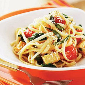Try a new approach to tofu with this take on traditional Italian. Cubes of firm tofu lend texture and protein to this light pasta mixed with tomatoes, basil and fresh spinach. #Protein #MyPlate
