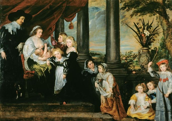 The Family of Sir Balthasar Gerbier George Vertue found the inscription which identified the sitters in this family portrait soon after its acquisition by Frederick, Prince of Wales. Balthasar Gerbier (1592-1667) was a French Huguenot born in the Dutch Republic who entered the service of the Duke of Buckingham in 1616 as artist and art-expert. Rubens lodged with Gerbier at York House during his London visit of 1629. The glimpse of river landscape in the background here shows the view from…
