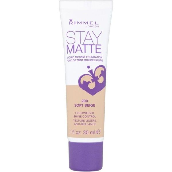 RIMMEL LONDON Stay Matte Liquid Mousse Foundation Soft Beige (13 CAD) ❤ liked on
