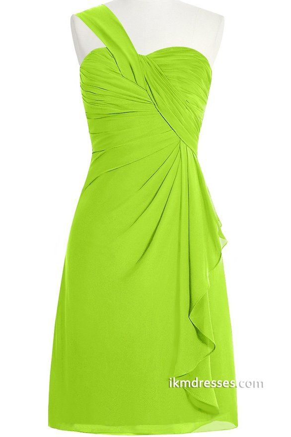 ORIENT BRIDE One-Shoulder Short Chiffon Prom Dress for Juniors Birthday Party Size 10 US Lime Green