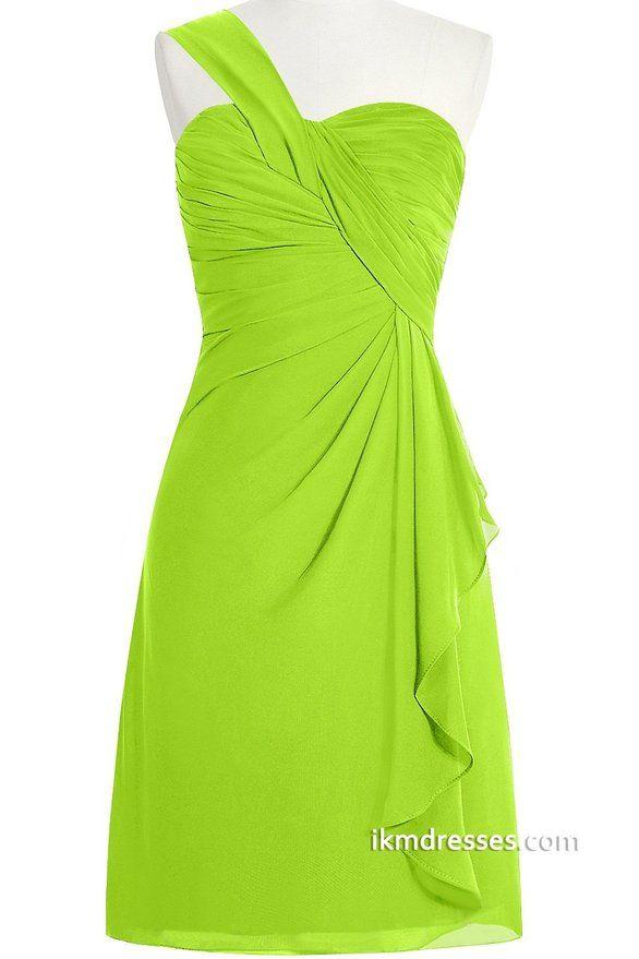 orient bride oneshoulder short chiffon prom dress for
