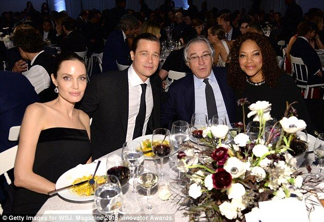 With the De Niros: Angie and Brad joined Robert and his wife Grace Hightower at the dinner...