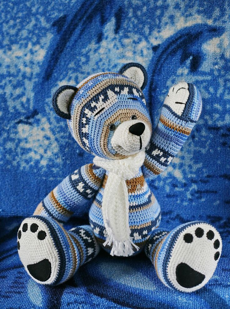 Купить Вязаный медведь Ингмар II - разноцветный, медведь, вязаная игрушка, норвежский свитер, зимний